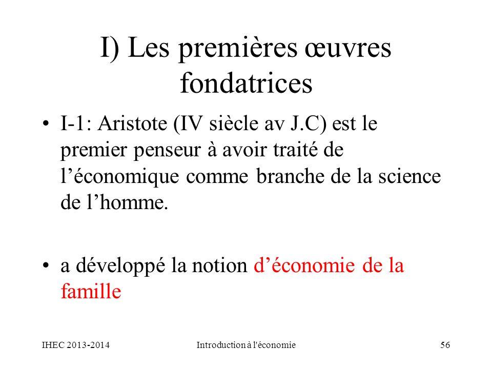 I) Les premières œuvres fondatrices
