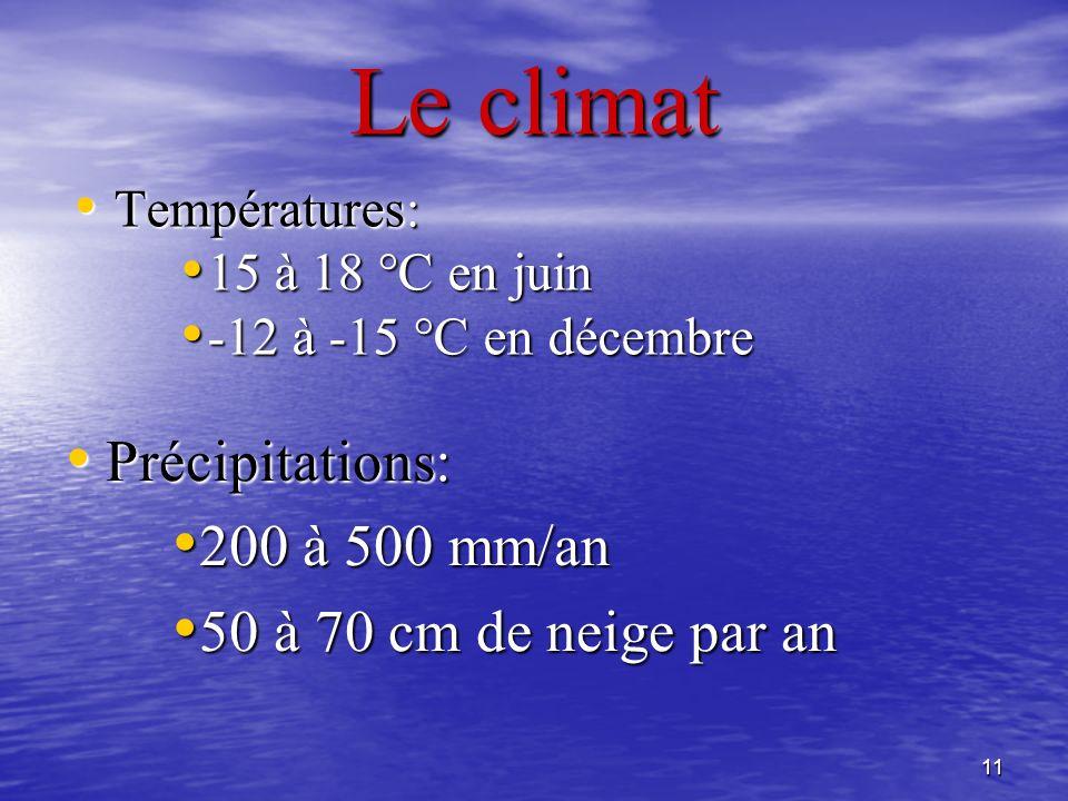 Le climat Précipitations: 200 à 500 mm/an 50 à 70 cm de neige par an