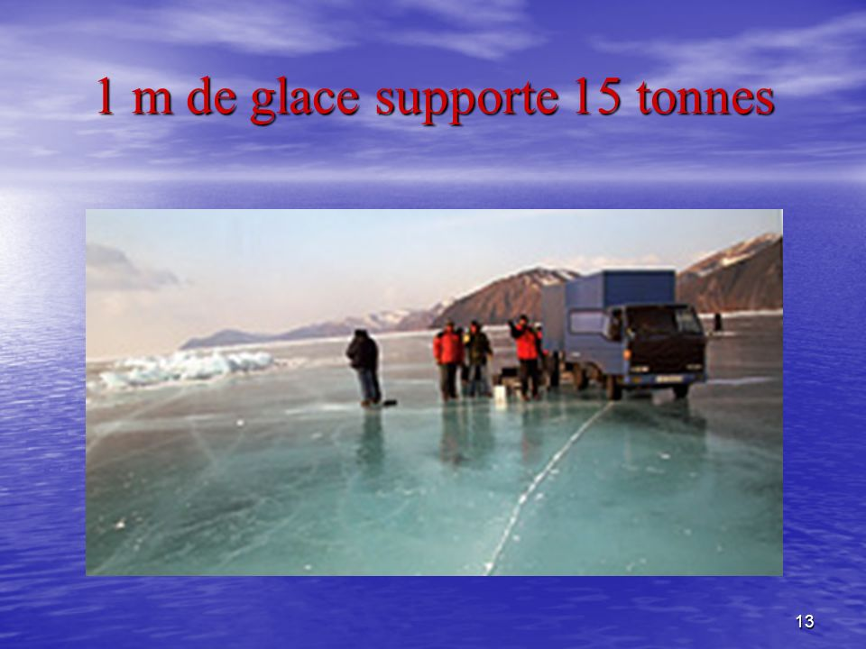 1 m de glace supporte 15 tonnes