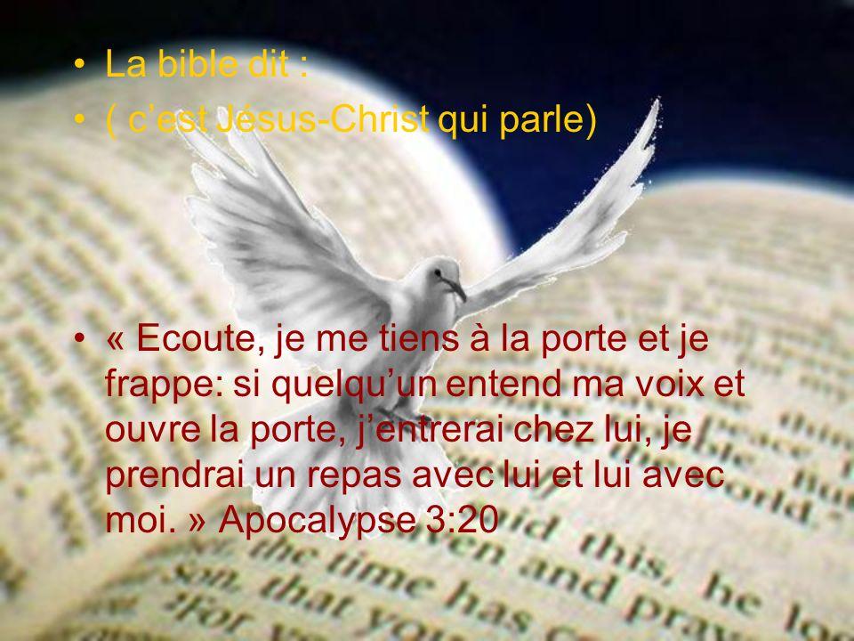 La bible dit : ( c'est Jésus-Christ qui parle)
