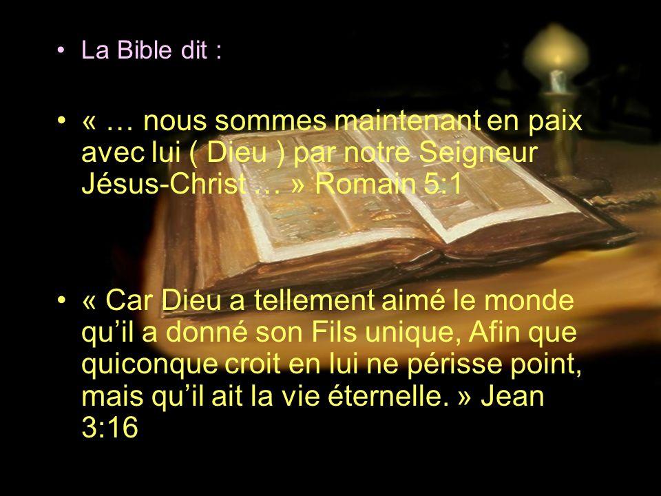 La Bible dit : « … nous sommes maintenant en paix avec lui ( Dieu ) par notre Seigneur Jésus-Christ … » Romain 5:1.