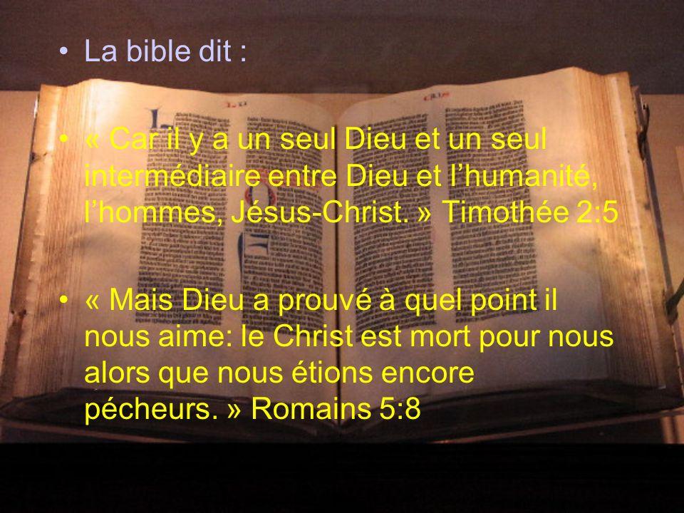 La bible dit :« Car il y a un seul Dieu et un seul intermédiaire entre Dieu et l'humanité, l'hommes, Jésus-Christ. » Timothée 2:5.