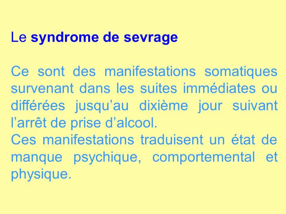 Le syndrome de sevrage
