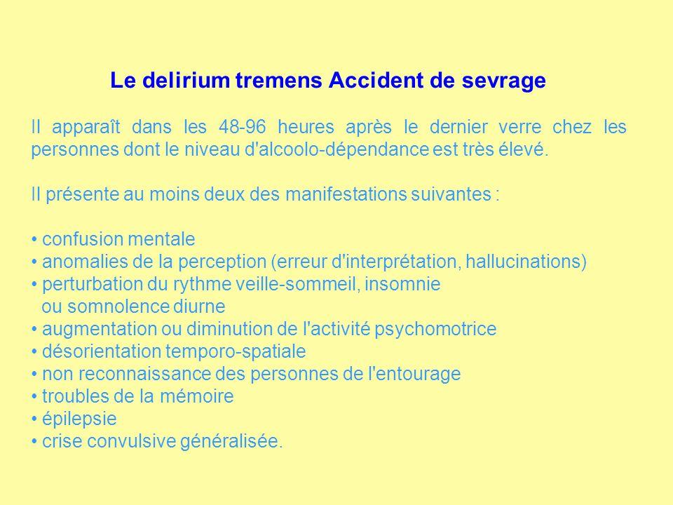 Le delirium tremens Accident de sevrage