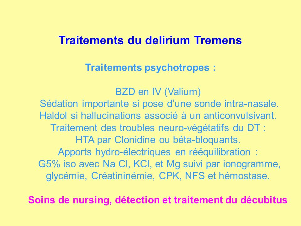 Traitements du delirium Tremens