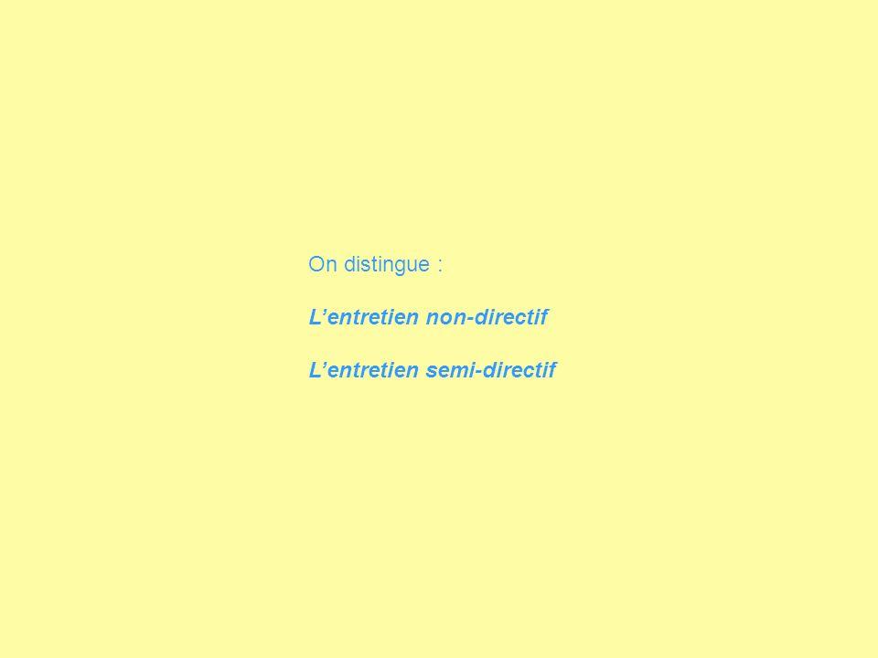 On distingue : L'entretien non-directif L'entretien semi-directif