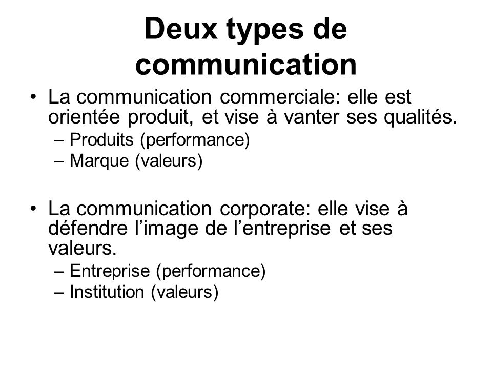 Deux types de communication