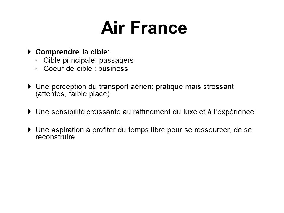 Air France Comprendre la cible: Cible principale: passagers