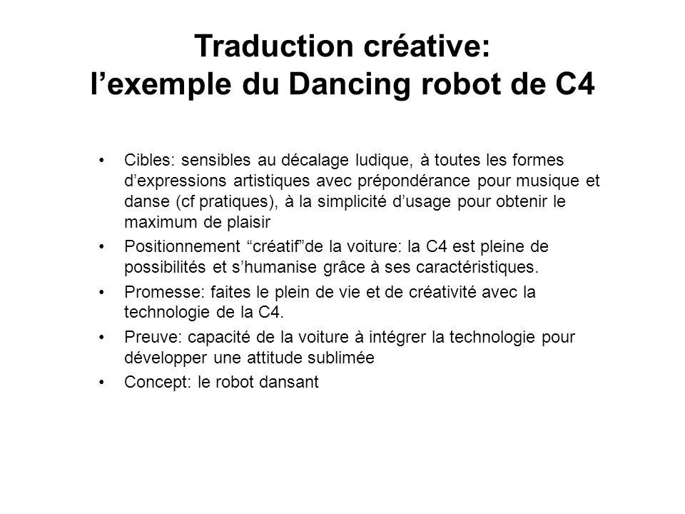 Traduction créative: l'exemple du Dancing robot de C4