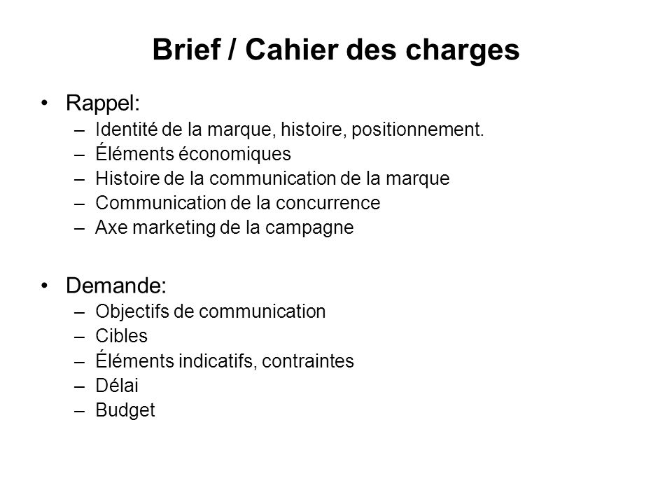 Brief / Cahier des charges