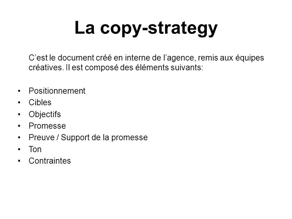 La copy-strategy C'est le document créé en interne de l'agence, remis aux équipes créatives. Il est composé des éléments suivants: