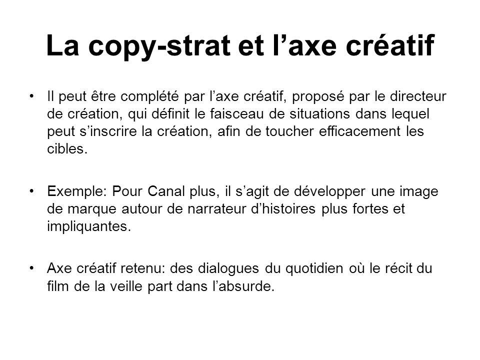 La copy-strat et l'axe créatif
