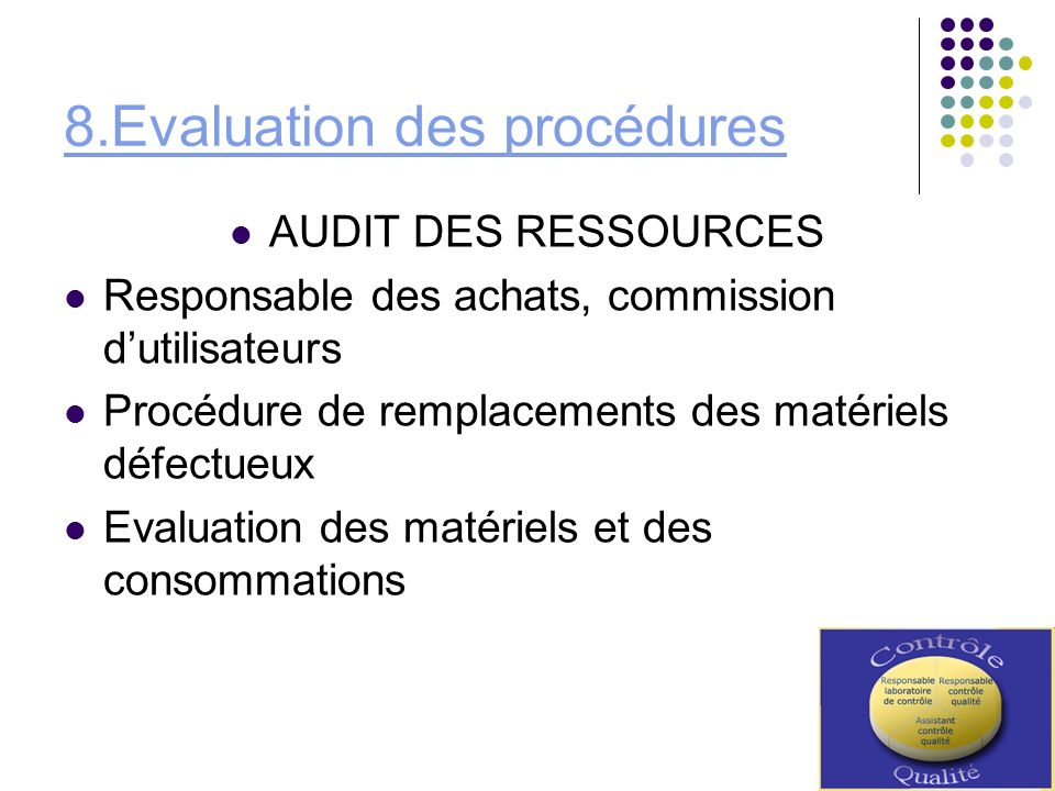 8.Evaluation des procédures