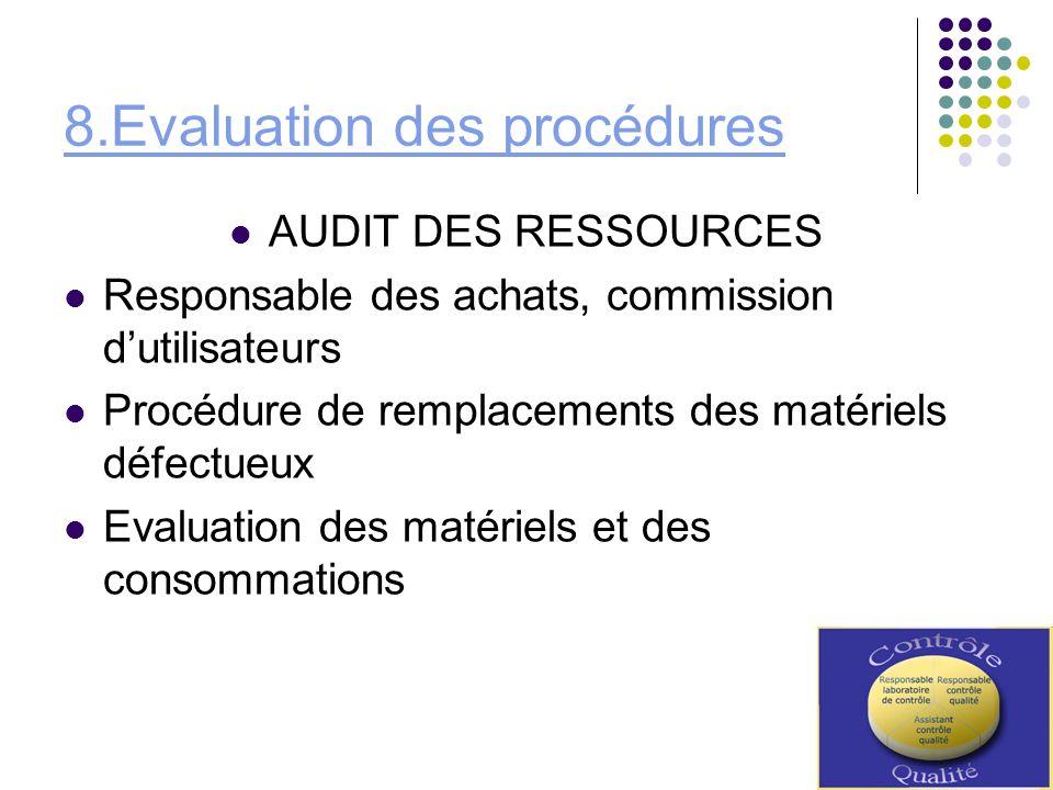 8.Evaluation des procédures
