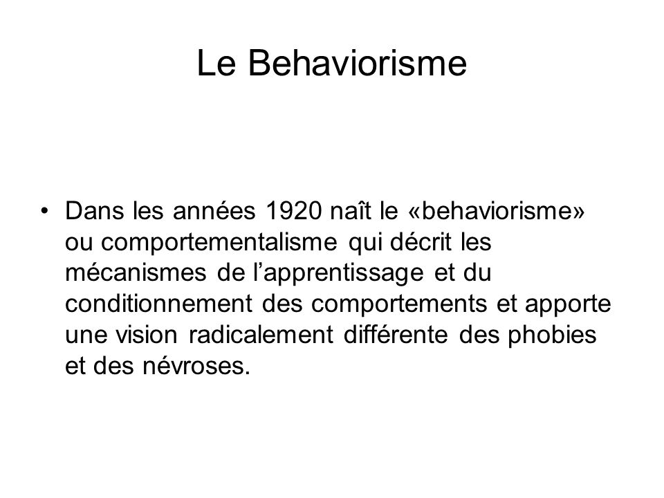 Le Behaviorisme