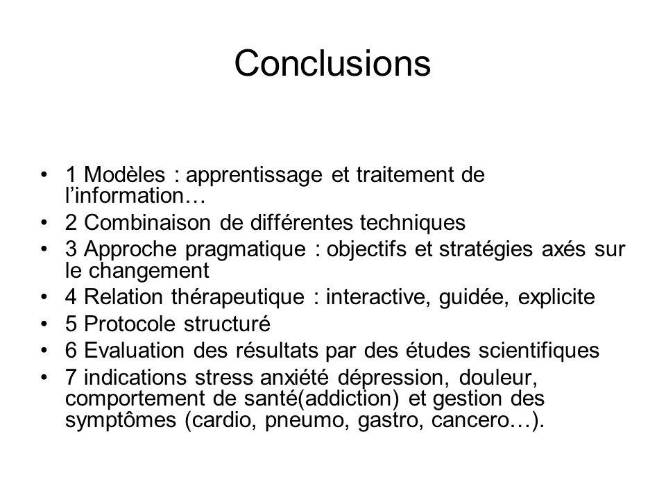 Conclusions 1 Modèles : apprentissage et traitement de l'information…