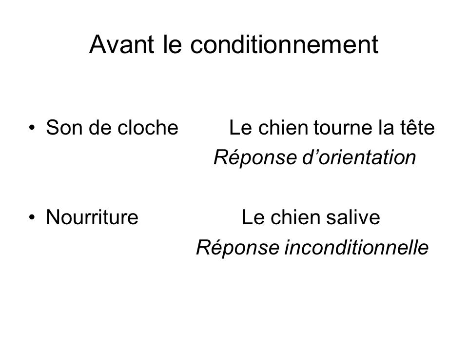 Avant le conditionnement
