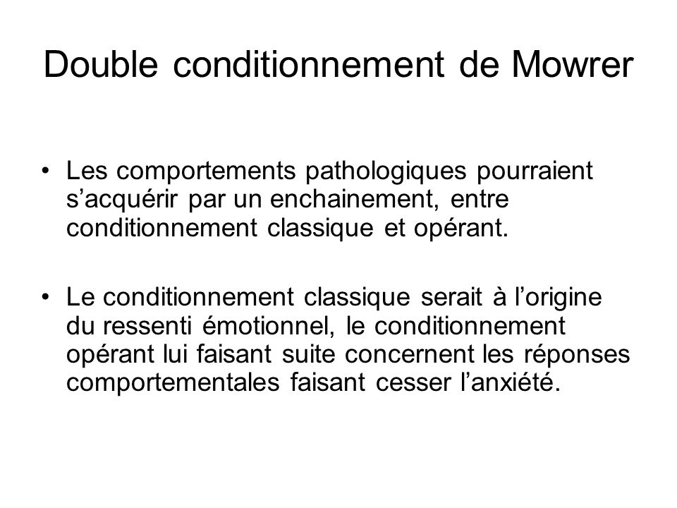 Double conditionnement de Mowrer