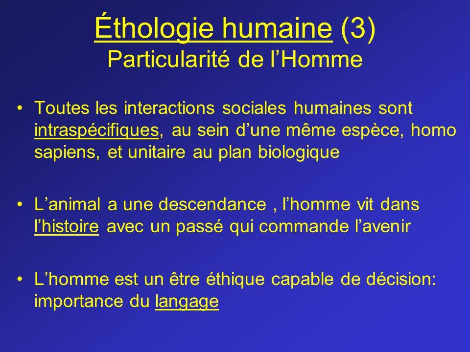 Éthologie humaine (3) Particularité de l'Homme