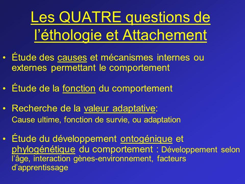 Les QUATRE questions de l'éthologie et Attachement