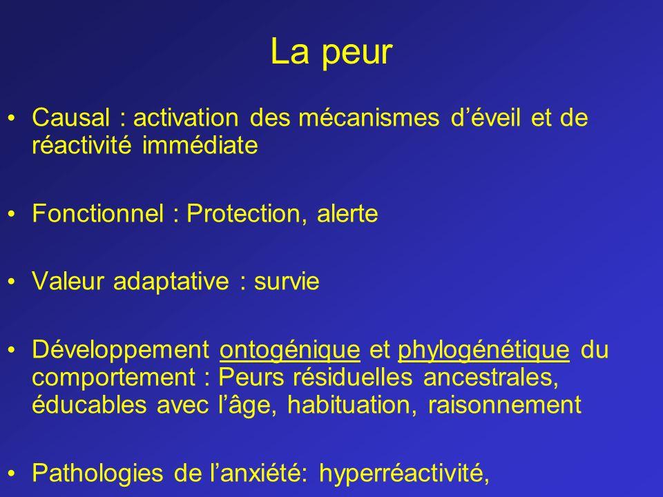 La peur Causal : activation des mécanismes d'éveil et de réactivité immédiate. Fonctionnel : Protection, alerte.