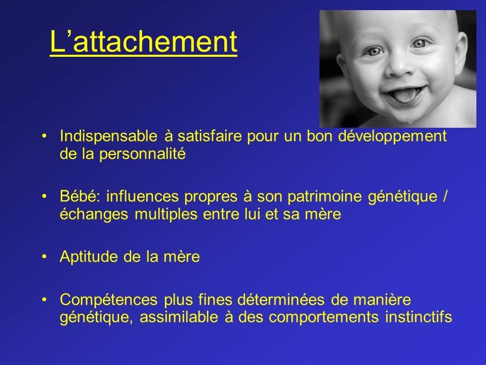 L'attachement Indispensable à satisfaire pour un bon développement de la personnalité.
