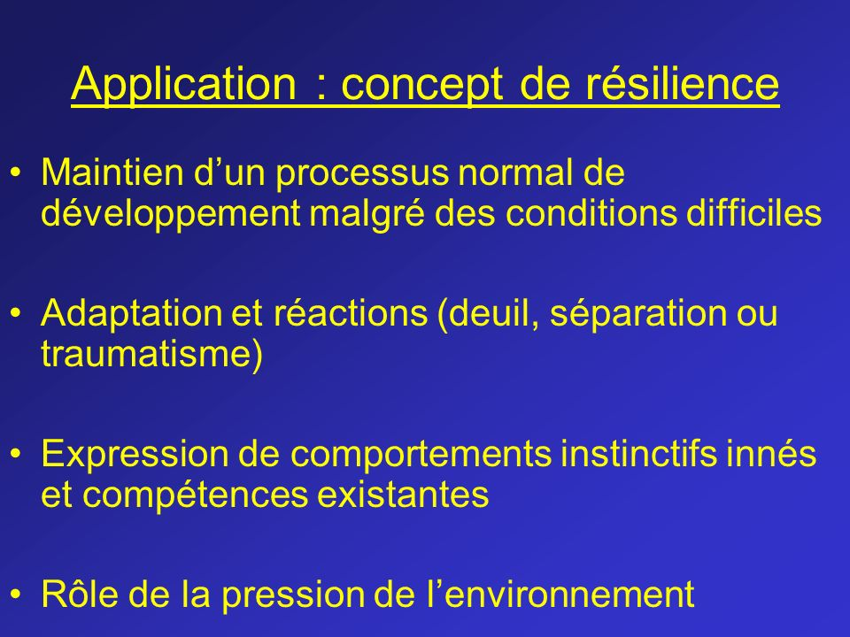 Application : concept de résilience