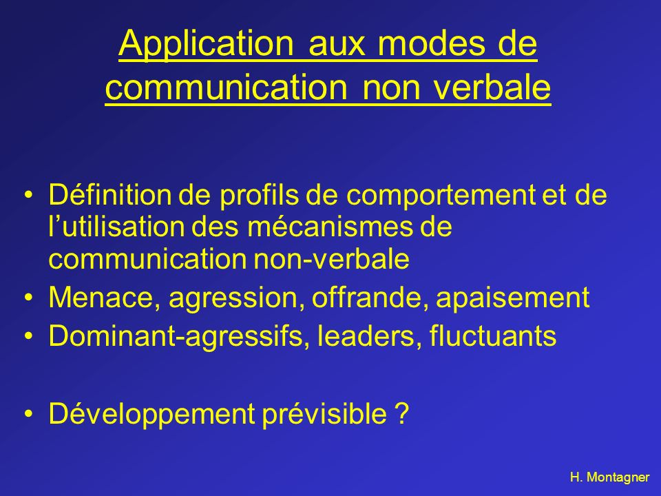 Application aux modes de communication non verbale