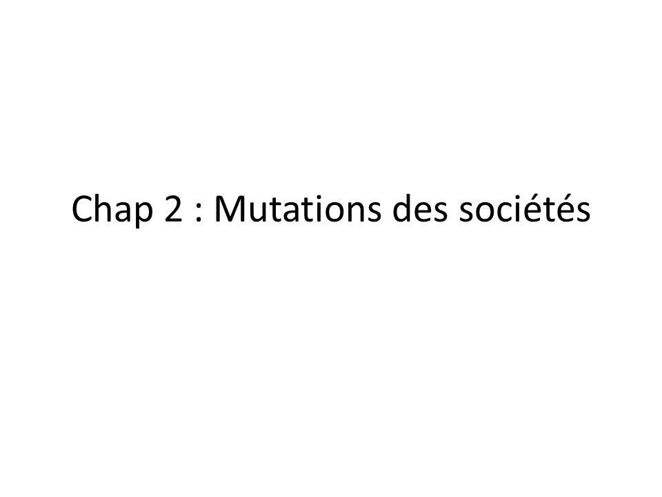Chap 2 : Mutations des sociétés