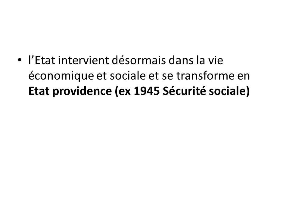 l'Etat intervient désormais dans la vie économique et sociale et se transforme en Etat providence (ex 1945 Sécurité sociale)