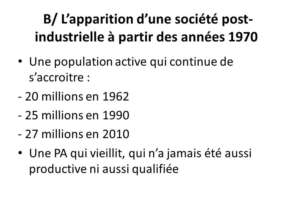 B/ L'apparition d'une société post-industrielle à partir des années 1970