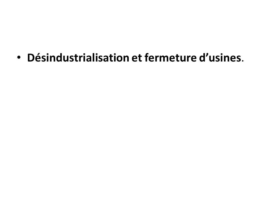 Désindustrialisation et fermeture d'usines.