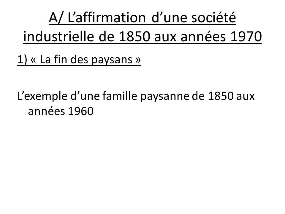 A/ L'affirmation d'une société industrielle de 1850 aux années 1970