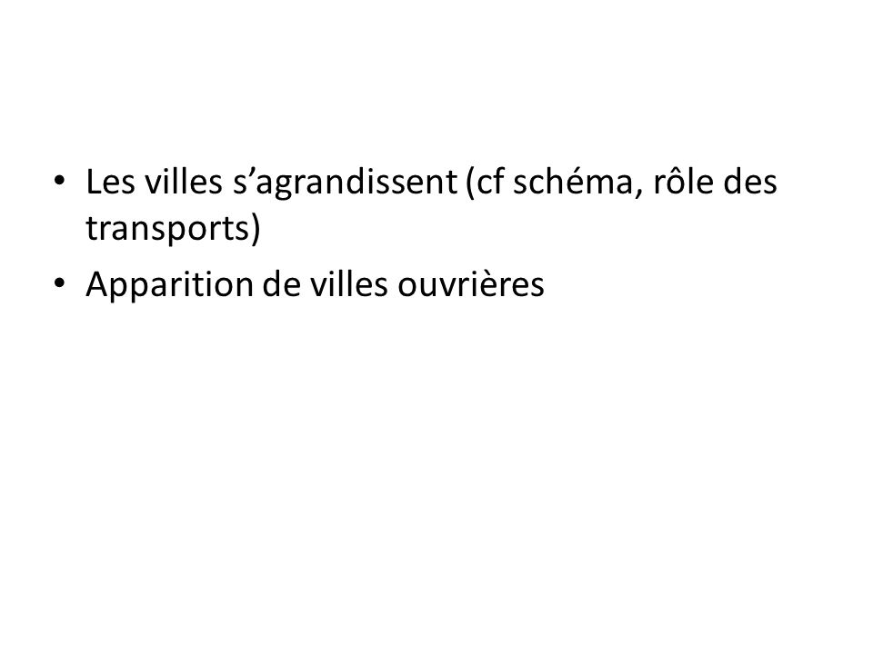 Les villes s'agrandissent (cf schéma, rôle des transports)