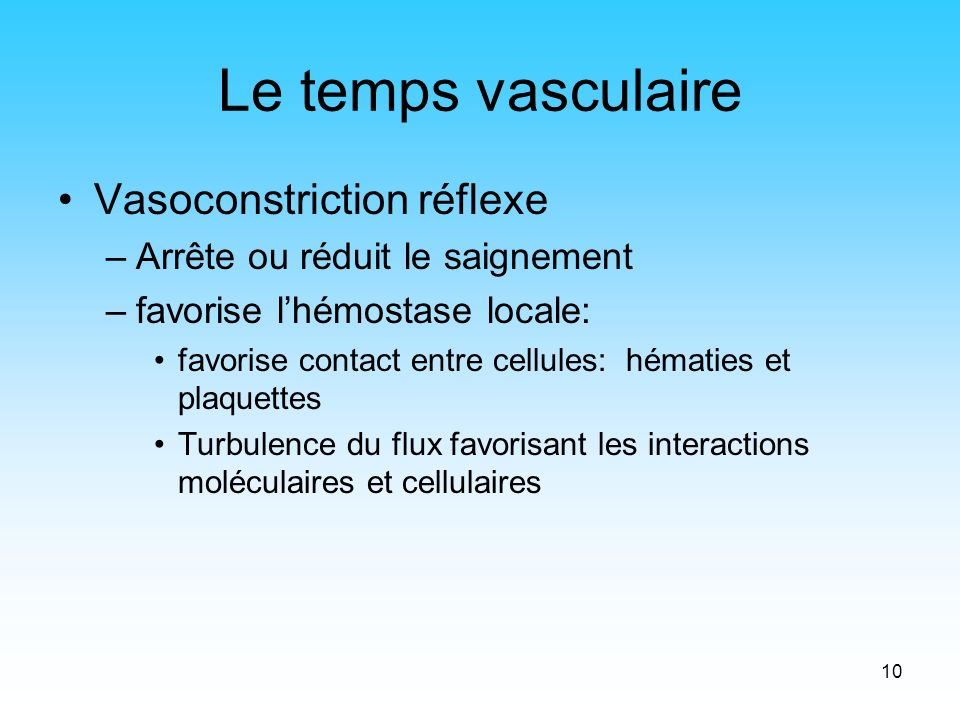 Le temps vasculaire Vasoconstriction réflexe