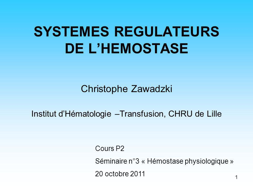SYSTEMES REGULATEURS DE L'HEMOSTASE