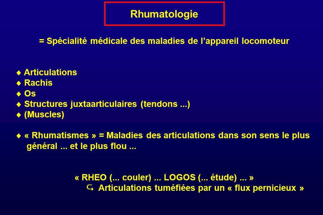 Rhumatologie = Spécialité médicale des maladies de l'appareil locomoteur.  Articulations.  Rachis.