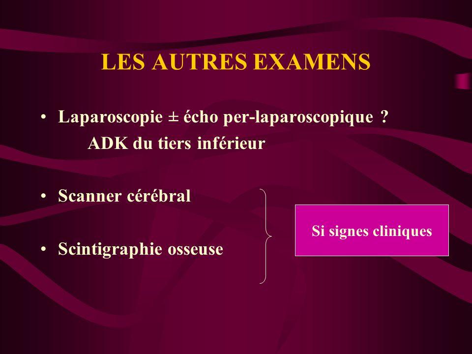 LES AUTRES EXAMENS Laparoscopie ± écho per-laparoscopique