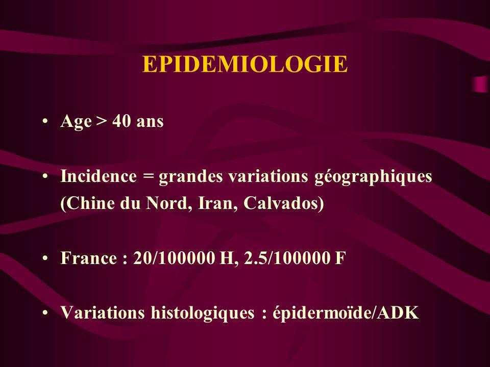 EPIDEMIOLOGIE Age > 40 ans