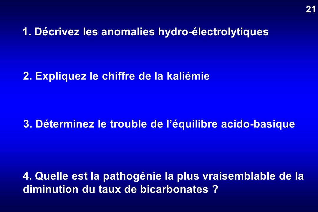 1. Décrivez les anomalies hydro-électrolytiques