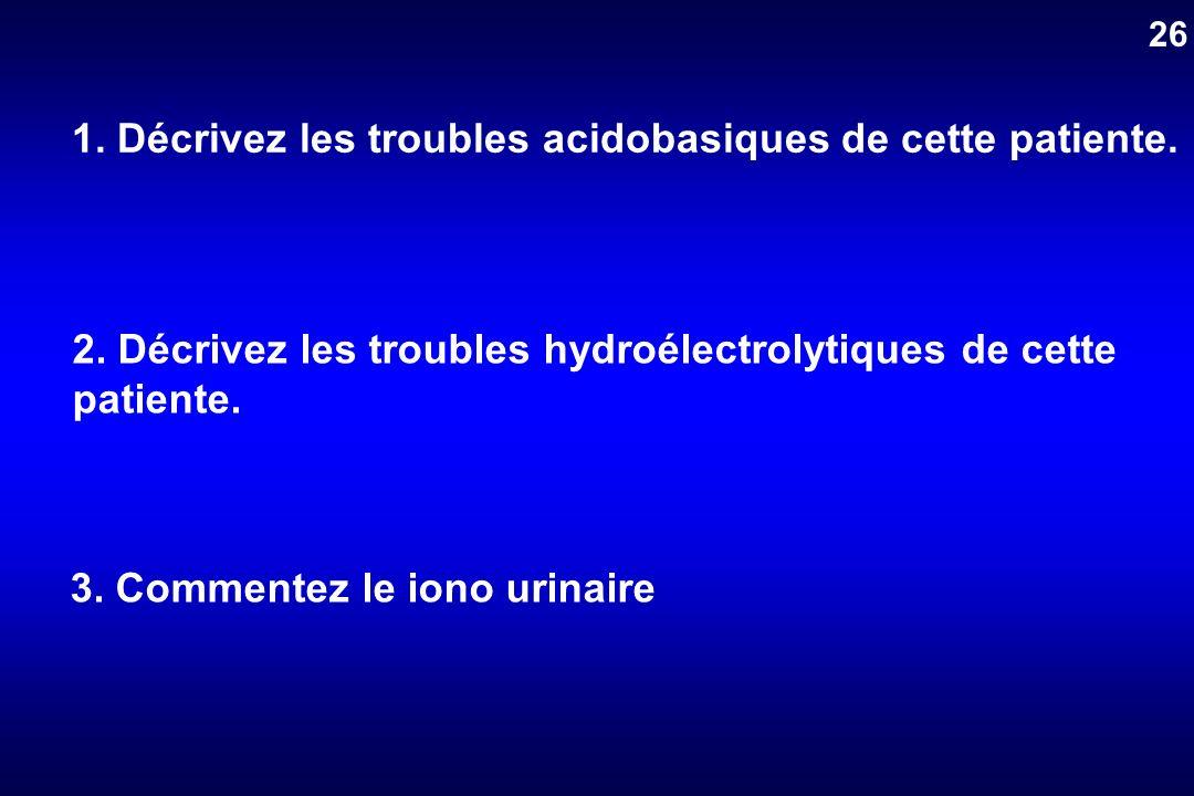 1. Décrivez les troubles acidobasiques de cette patiente.
