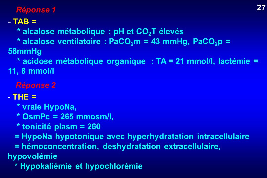 * alcalose métabolique : pH et CO2T élevés