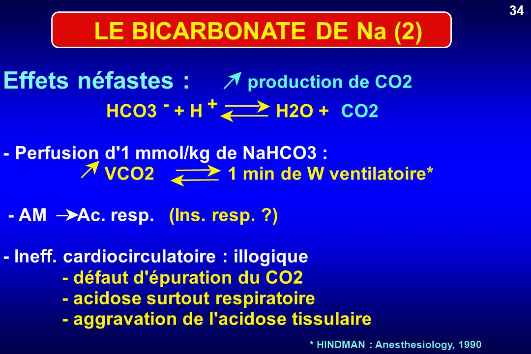 LE BICARBONATE DE Na (2) Effets néfastes : production de CO2 - + HCO3