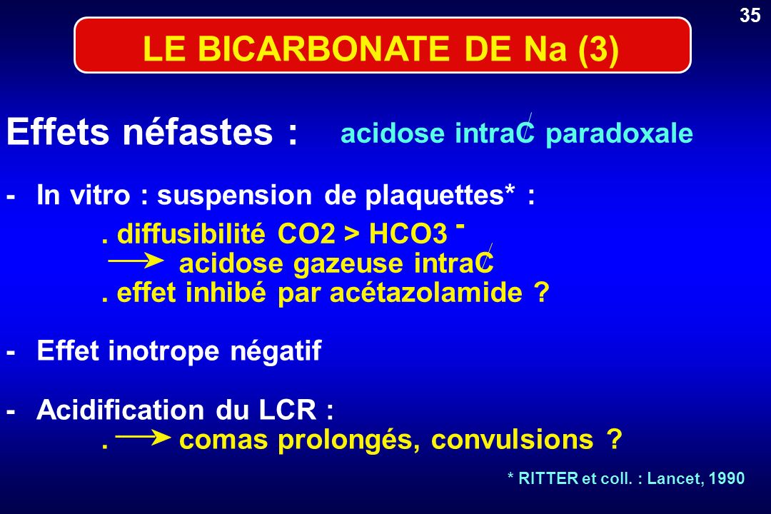 Effets néfastes : LE BICARBONATE DE Na (3) acidose intraC paradoxale -