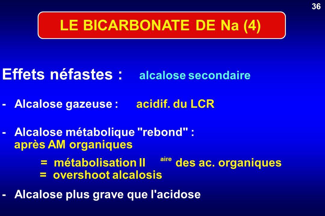 Effets néfastes : LE BICARBONATE DE Na (4) alcalose secondaire -