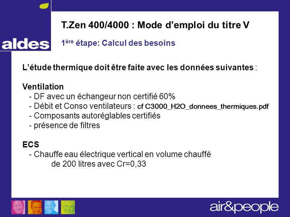 T.Zen 400/4000 : Mode d'emploi du titre V