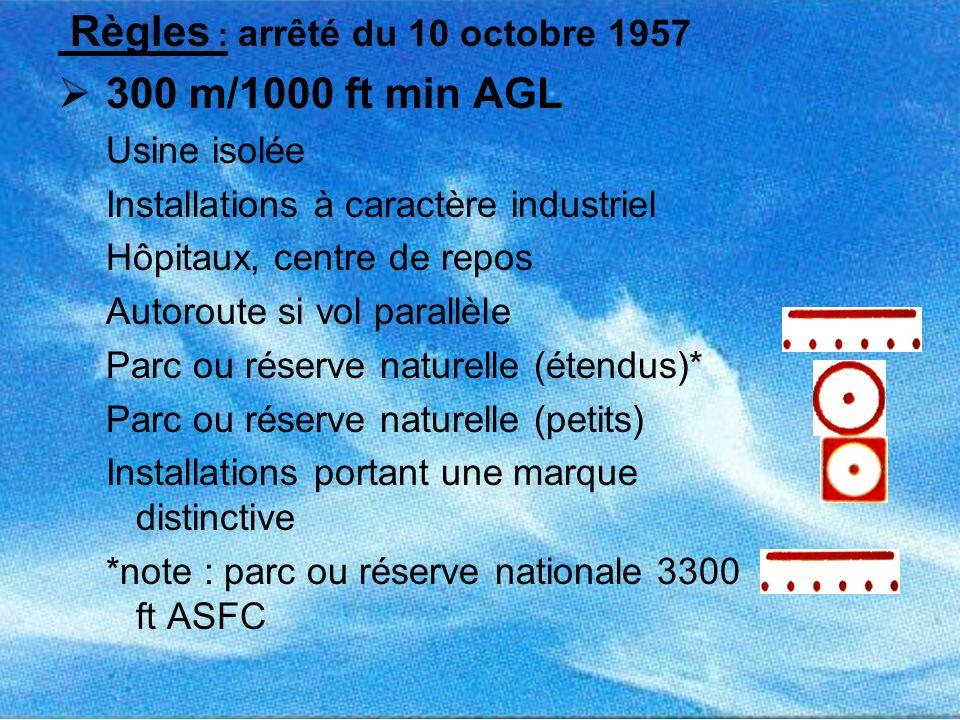 Règles : arrêté du 10 octobre 1957 300 m/1000 ft min AGL