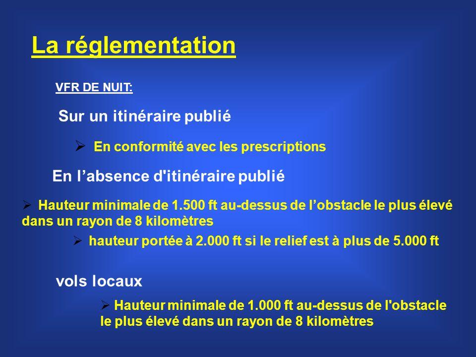 La réglementation Sur un itinéraire publié