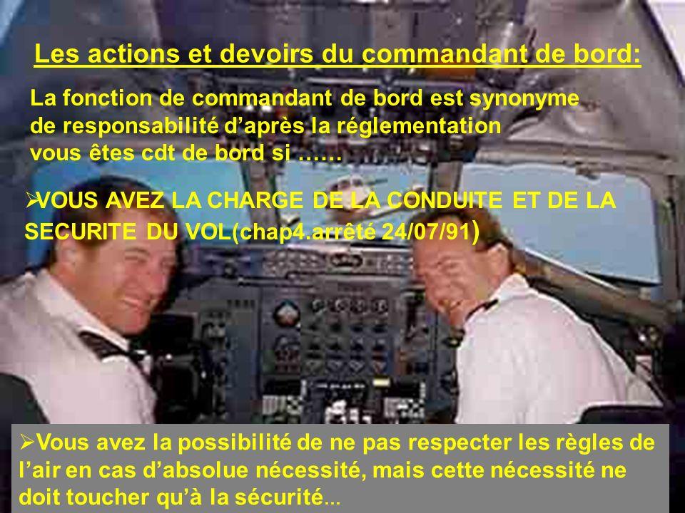 Les actions et devoirs du commandant de bord: