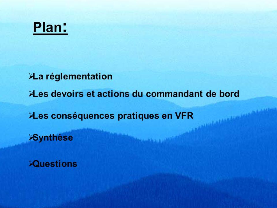 Plan: La réglementation Les devoirs et actions du commandant de bord